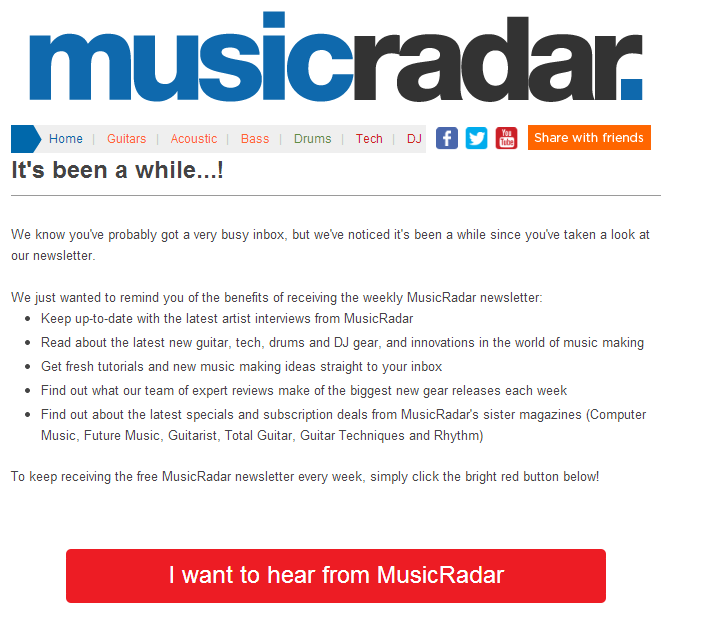 MusicRadar Re-activation Email